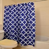 Home Textiles Blue Printed 100% Polyester Waterproof Shower Curtain