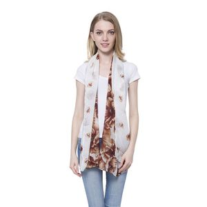 White with Brown Flower Pattern 100% Polyester Scarf (68x28 In)