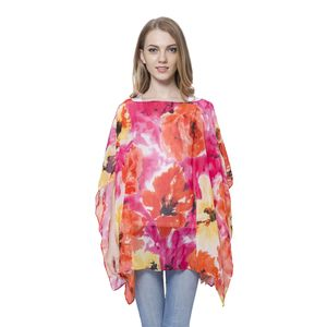 Orange and Pink Floral Pattern 100% Polyester Poncho (One Size)