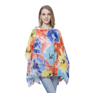 Blue, Orange and Yellow Floral Pattern 100% Polyester Poncho (Free Size)
