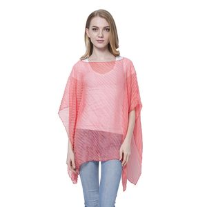 J Francis - Coral 100% Polyester Stripe Creased Poncho