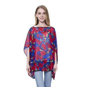 Navy with Red Rose Pattern 100% Polyester Poncho
