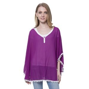 Purple 100% Polyester Poncho or Blouse with Pom Pom Trim
