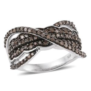 Champagne Diamond Platinum Over Sterling Silver Criss Cross Ring (Size 8.0) TDiaWt 1.01 cts, TGW 1.01 cts.