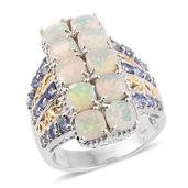 Ethiopian Welo Opal, Tanzanite 14K YG and Platinum Over Sterling Silver Ring (Size 5.0) TGW 4.79 cts.