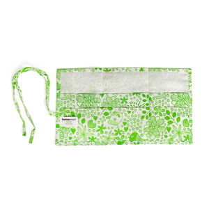 HomeSmart-Set of 3 White and Green Floral and Bird Print 100% Cotton 12 Pocket Travel Organizers (10x18 in)