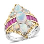 Ethiopian Welo Opal, Niassa Ruby 14K YG and Platinum Over Sterling Silver Ring (Size 5.0) TGW 4.59 cts.