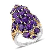 Lusaka Amethyst, Cambodian Zircon 14K YG and Platinum Over Sterling Silver Ring (Size 5.0) TGW 10.290 cts.