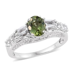 Forte Dauphin Apatite, White Topaz Platinum Over Sterling Silver Ring (Size 7.0) TGW 2.27 cts.