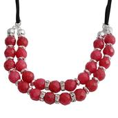Red Quartzite, Glass Silvertone and Genuine Leather Drape Necklace (16-18 in) TGW 4.50 cts.