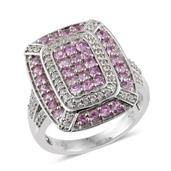 Madagascar Pink Sapphire, Cambodian Zircon Platinum Over Sterling Silver Ring (Size 7.0) TGW 2.66 cts.