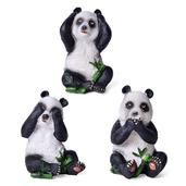 Set of 3 Multi Color Chroma Pandas (4x2x2 in)