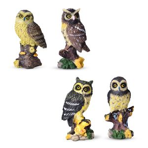 Set of 4 Multi Color Owls (4.5x2x1.5 in)