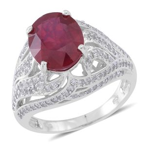 Niassa Ruby, Cambodian White Zircon Sterling Silver Ring (Size 7.0) TGW 9.36 cts.