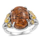 KARIS Collection - Indian Script Stone, Simulated Yellow Diamond Platinum Bond Brass Ring (Size 7.0) TGW 10.40 cts.