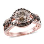 Natural Champagne Diamond, Diamond 14K RG Over Sterling Silver Ring (Size 10.0) TDiaWt 1.96 cts, TGW 1.96 cts.