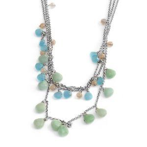 Blue and Green Chroma Silvertone Drop Drape Multi Strand Necklace (20-22 in)
