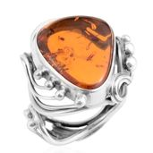 Baltic Amber Sterling Silver Statement Ring (Adjustable)