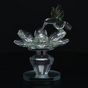 Home Decor Yellow and Green Glass, Rotatable Crystal Lotus Flower with Green Bird TGW 1320.00 cts.