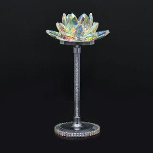 Home Decor Purple Glass, Rotatable Crystal Lotus Flower TGW 1000.00 cts.