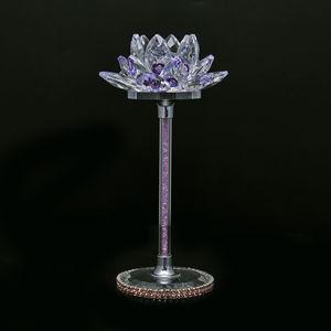 Purple Glass, Crystal Lotus Flower Decor