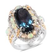 Indicolita Quartz, Multi Gemstone 14K YG and Platinum Over Sterling Silver Ring (Size 8.0) TGW 13.38 cts.