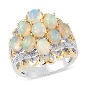 Ethiopian Welo Opal, White Zircon 14K YG Over and Sterling Silver Ring (Size 7.0) TGW 2.05 cts.
