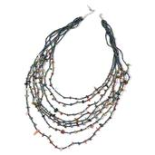 Indian Agate, Multi Color Glass Beads Silvertone Drape Necklace (22 in) TGW 300.00 cts.
