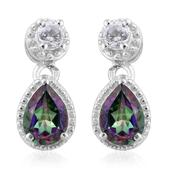 Northern Lights Mystic Topaz, White Topaz Platinum Over Sterling Silver Drop Earrings TGW 1.96 cts.