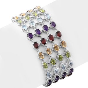 Multi Gemstone Platinum Over Sterling Silver Multi Row Bracelet (7.50 In) TGW 29.38 cts.