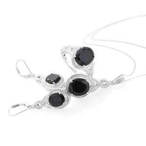 Thai Black Spinel Platinum Over Sterling Silver Lever Back Earrings, Ring (Size 8) and Pendant With Chain (20 in) TGW 17.45 cts.