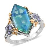 Peacock Quartz, Tanzanite 14K YG and Platinum Over Sterling Silver Ring (Size 7.0) TGW 10.44 cts.