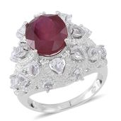 Niassa Ruby, White Topaz Sterling Silver Ring (Size 7.0) TGW 9.32 cts.
