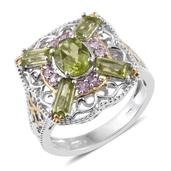 Hebei Peridot, Madagascar Pink Sapphire 14K YG and Platinum Over Sterling Silver Openwork Ring (Size 10.0) TGW 3.45 cts.