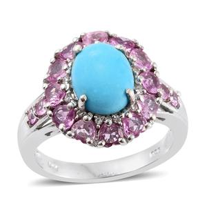 Arizona Sleeping Beauty Turquoise, Madagascar Pink Sapphire, Cambodian Zircon Platinum Over Sterling Silver Ring (Size 7.0) TGW 4.79 cts.