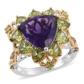 Lusaka Amethyst, Hebei Peridot 14K YG and Platinum Over Sterling Silver Ring (Size 5.0) TGW 7.59 cts.