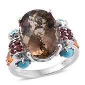 Brazilian Smoky Quartz, Multi Gemstone Platinum Over Sterling Silver Ring (Size 11.0) TGW 14.73 cts.