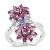 Tanzanite, Mahenge Umbalite Platinum Over Sterling Silver Floral Ring (Size 6.0) TGW 3.85 cts.