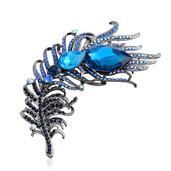 Blue Glass, Blue Austrian Crystal Dark Silvertone Brooch