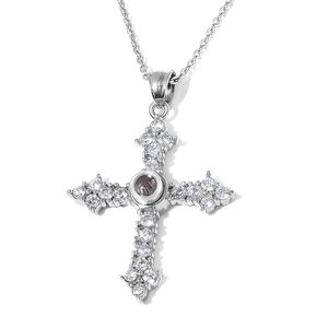 Simulated White Diamond, Glass Stainless Steel Cross Pendant With Chain (24 in) TGW 6.00 cts.