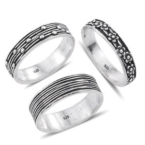 Set of 3 Sterling Silver Engraved Band Rings (Size 8) (3.5 g)
