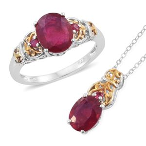 Niassa Ruby 14K YG and Platinum Over Sterling Silver Openwork Ring (Size 7) and Pendant With Chain (20 in) TGW 6.10 cts.