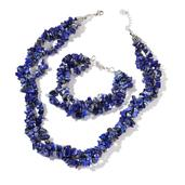 Lapis Lazuli Black Chips Silvertone Triple Strand Bracelet (8.00 In) and Triple Strand Twisted Necklace (18.00 In) TGW 669.00 cts.
