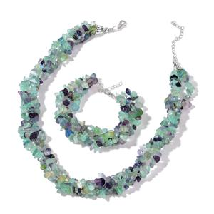 African Fluorite Chips Silvertone Triple Strand Bracelet (7.50-9.00in) and Triple Strand Twisted Necklace TGW 699.00 cts.