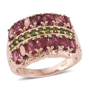 Morro Redondo Pink Tourmaline, Russian Diopside 14K RG Over Sterling Silver Ring (Size 6.0) TGW 3.68 cts.