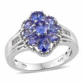 Premium AAA Tanzanite, White Topaz Platinum Over Sterling Silver Ring (Size 5.0) TGW 2.32 cts.