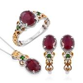 Niassa Ruby, Russian Diopside 14K YG and Platinum Over Sterling Silver J-Hoop Earrings, Openwork Ring (Size 9) and Pendant With Chain (20 in) TGW 8.77 cts.
