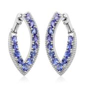 Premium AAA Tanzanite Platinum Over Sterling Silver Clip On Earrings TGW 4.65 cts.