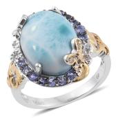 GP Larimar, Multi Gemstone 14K YG and Platinum Over Sterling Silver Ring (Size 10.0) TGW 10.77 cts.