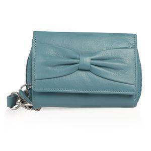 Sea Blue 100% Genuine Leather RFID Wallet (4.75x1.5x3.5 in)